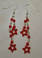 Red two star chain earrings by bad-ass