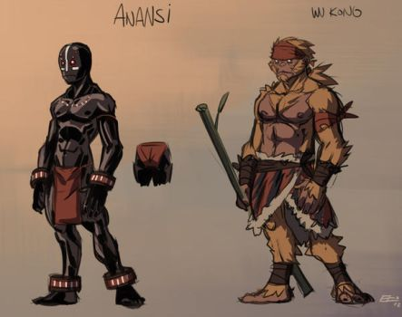 The Death Princess: Anansi  And Wu Kong by E-Mann