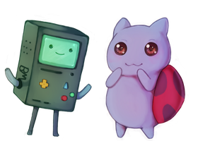 BMO and Catbug by MiniWoopWoop