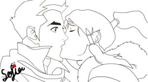 makorra kiss - vector without color by princessxsofia