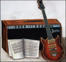 Guitar and Amp by xilovehorsesx