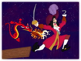 Mushu vs. Captain Hook by andy-pants