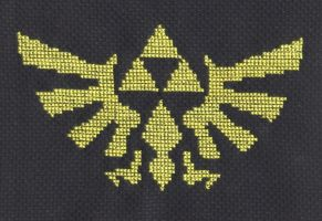 Hylian Crest cross stitch by Lil-Samuu