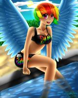 :Rainbow Dash: Poolside Smile by FluffyPuffyBunny