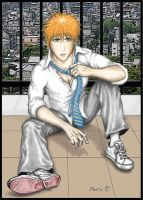 Ichigo on the roof colored by peca06