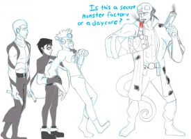 Young Justice meet Hellboy by Dracophile