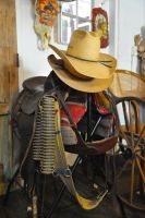 Straw hats on saddle horn by lawout16