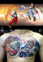 Fire Mario VS. Dr. Mario tattoo by pnutink