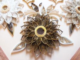 Gold flower element quilling panel by othewhitewizard