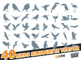 40 birds silhouette vector by anone52