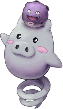 Spoink with Koffing by Quanyails