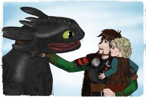 DaddyHiccup with Toothless and Stoick II by Jenni41