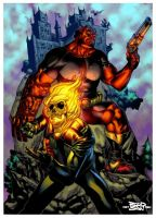 hellboy and ghost rider pencil by adagadegelo by macacaralho