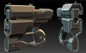 Sci fi pistol Zbrush hard surface model by zelldweller