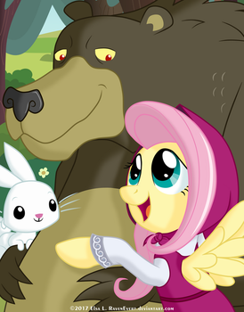 FlutterShy and the Bear (and Angel) by RavenEvert