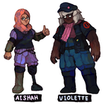 Tender Caves of Death: Aishah and Violette by brotoad