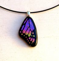 Fused Glass Butterfly Wing Pink Mix Mini by FusedElegance