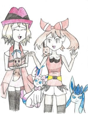 Serena and May with Eeveelutions (Request) by Pikafan09