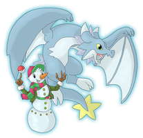 Commission - A snowman trainer e his little dragon by Cid-Fox