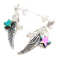 Tiny Wing + Star Earrings by fairy-cakes