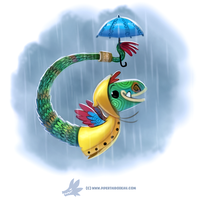 Daily Paint #1244. Quetzalraincoatl by Cryptid-Creations