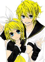 Vocaloid: Kagamine Twins by theBlacFlower