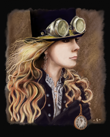 Steampunk lady - digital painting by EpsilonEridani