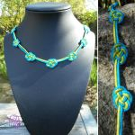 Blue Green Double Coin Knot Necklace by RebeccaMArt