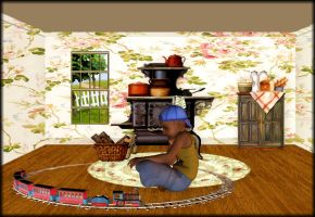 Boy and his Trainset by mysticmorning