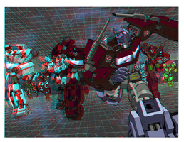 Transformers in 3D Anaglyph by xmancyclops