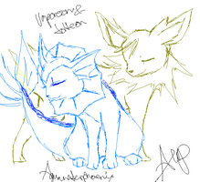 Vaporeon and Jolteon by Aquawaterphoenix