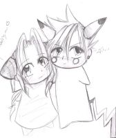 Cloud and Aerith as Pokemon