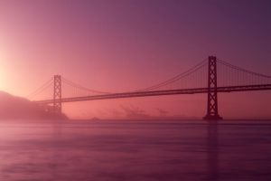 Oakland Bay Bridge - Pretty in Pink by paulbalchin
