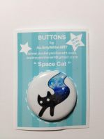 Space Cat 1 inch Pinback Button by AudreyMillerArt