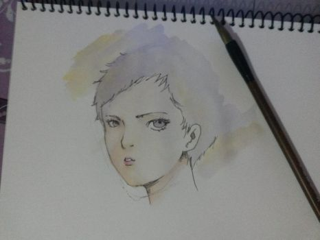 Watercolor over my pen sketch by AirtonCS