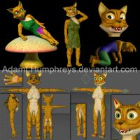 Anthro Female Cat Feline Rigged Cartoon 3D Model by adamlhumphreys