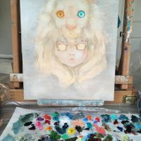 Lion painting in progress by camilladerrico