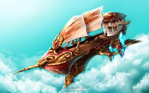 Guild Airship (commission) by hotbento