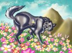 The wolf in the garden of the Wild by RUNNINGWOLF-MIRARI