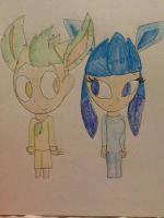 Humanized Leafeon X Glaceon (colored) by Strongcheetah24
