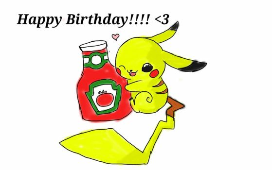 birthday pikachu by Watashiwakareoai