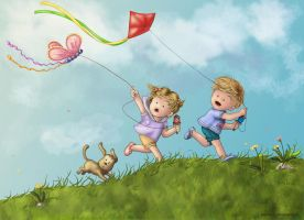 Flying Kites Colored by alexasrosa