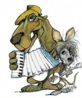 Zydeco Hound and Friend by sketchoo