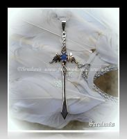 'Frozen Time' sterling silver sword pendant by seralune