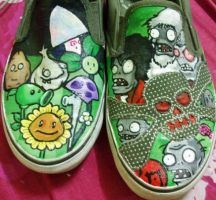 Plants Vs Zombies shoes by pixelputa