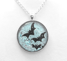 Silver Moon with Bats Pendant by HoneyCatJewelry