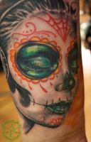 Day of the Dead Lady Tattoo done by Sean Ambrose by seanspoison