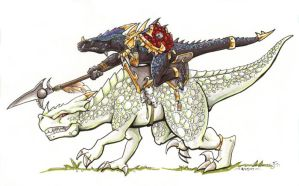 Lizardman Cavalry color test by lizardbeth