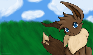 Eevee in the Field by LunarousCrescent