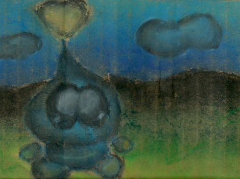 Oil pastel Chao on cardboard by DFX4509B